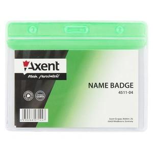 "Бейдж горизонтальный 83х52 мм, глянцевый, зеленый ""Axent"" 4511-04-A"