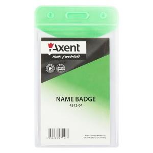 "Бейдж вертикальный 51х83 мм, глянцевый, зеленый ""Axent"" 4512-04-A"