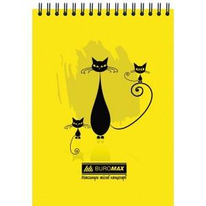 "Блокнот на пружине сверху CAT А5, 48л., клетка, желтый ""BuroMAX"" BM.2475-08"