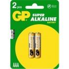 Батарейка GP AAA 24A-2UE2 Super alkaline (LR03-B2), на блистере по 2 штуки, ёмкость 1150 мAч