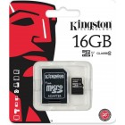 Карта памяти Kingston microSDHC 16GB Class 10 + SD адаптер (SDC10/16GB)