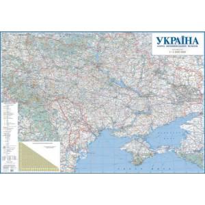 1010 Україна. Карта автомобільних шляхів, м-б 1:1 000 000 (на картоне, на планках)
