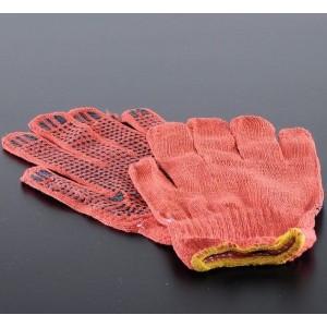 Перчатки трикотажные с ПВХ-точкой оранжевые (47682)