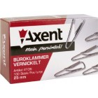 """Скрепки 25мм, 100шт никелированные, с загибом треугольные  """"Axent"""" 4105-А"""